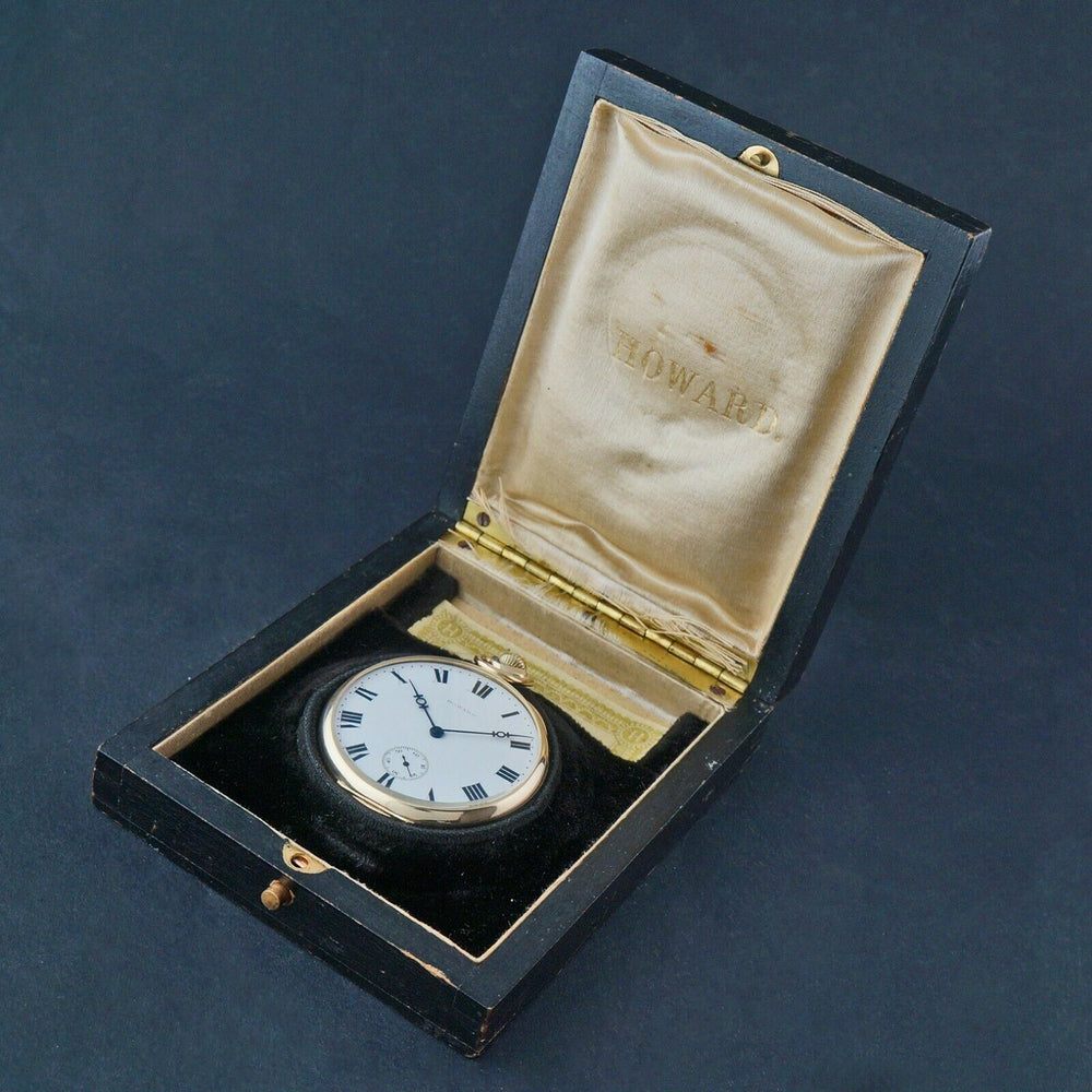 Rare 1914 Howard  Solid 14K Yellow Gold 19J 12S Pocket Watch, Howard Box