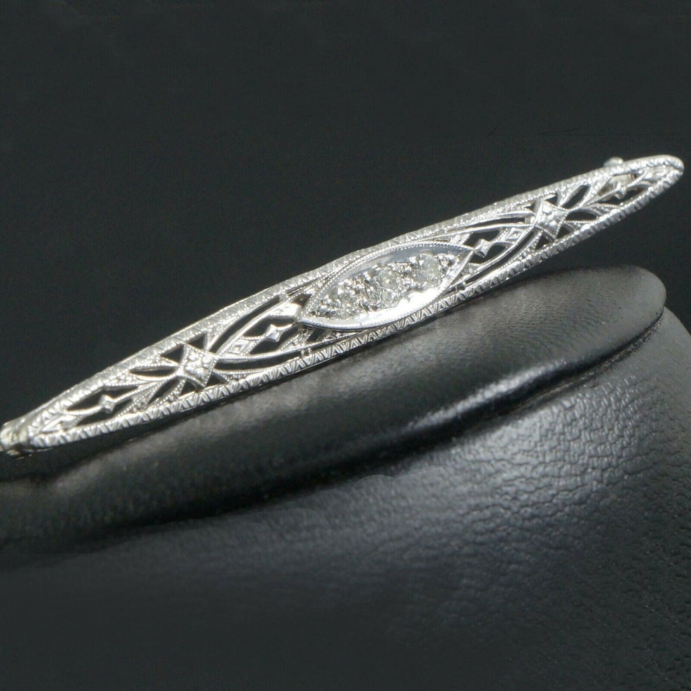 c-1920 Art Deco Solid 14K White Gold & Diamond Filigree Bar Pin, Estate Brooch