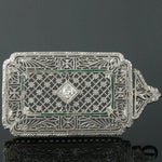 c-1920 Art Deco Platinum, Solid 14K, OEC Diamond & Enamel Filigree Pin, Brooch