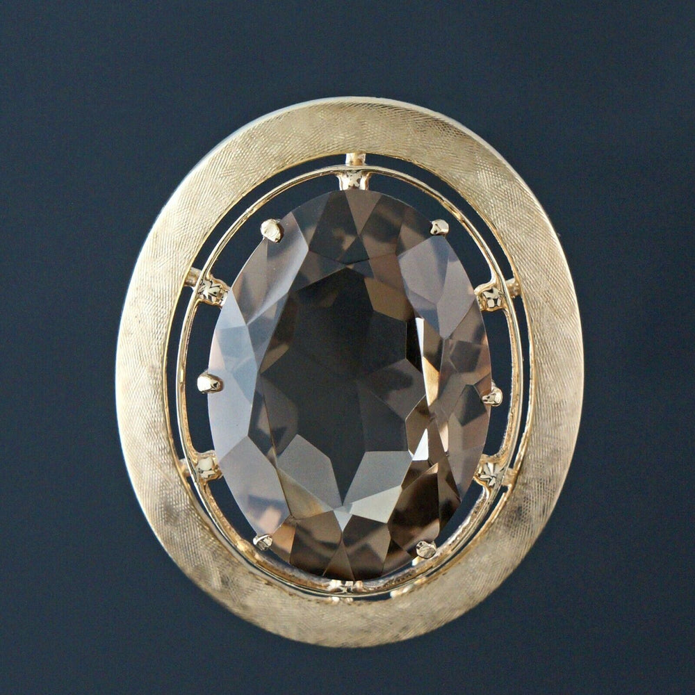 Large Solid 14K Yellow Gold & 30.0 Ct Smokey Quartz, Estate Pendant, Brooch