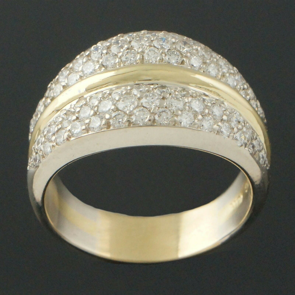 Heavy Solid 18K Gold, 1.72 Ctw Diamond Estate Cigar Wedding, Anniversary Band