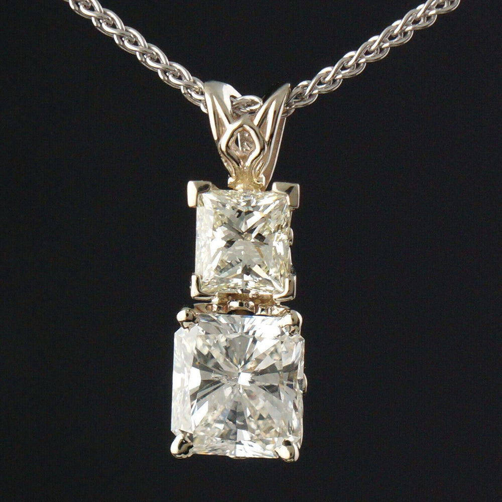 "Solid 14K White Gold & 3.65 CTW Radiant Cut Diamond 2 Stone Pendant 18"" Necklace"