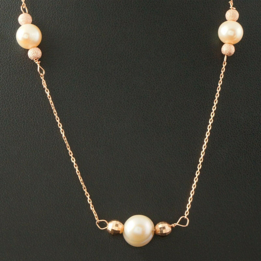Elegant Solid 14K Rose Gold, Bead, & Freshwater Pearl Estate Chain Necklace