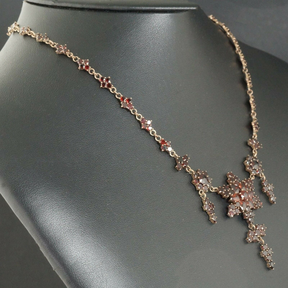 Antique Gold Vermeil, 26.25 CTW Pyrope Garnet Estate Chatelaine Necklace