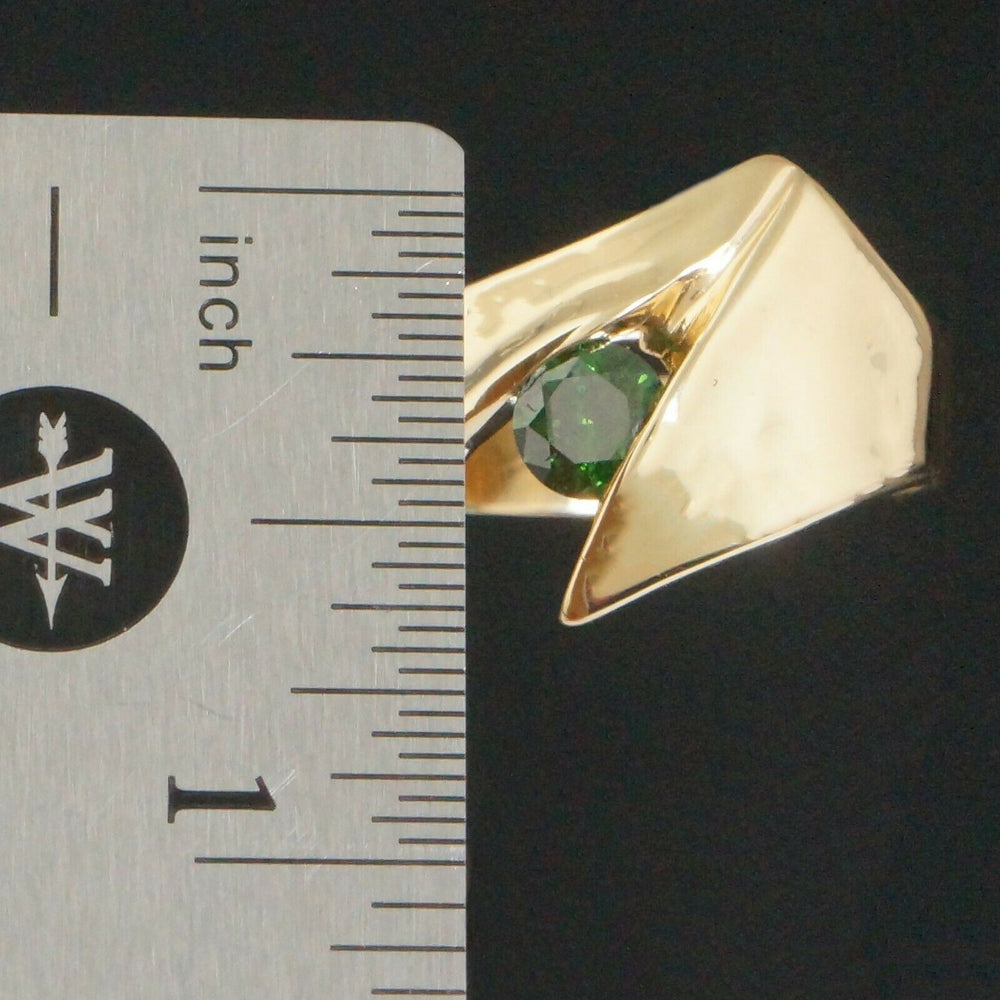 Custom Modernist Solid 14K Gold & .45 Ct Irradiated Green Diamond Solitaire Ring