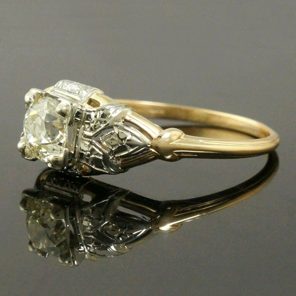 Nouveau Granat Bros Solid 14K/18K Gold & .85 Ct. Diamond Engagement Wedding Ring