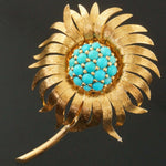 French Solid 18K Yellow Gold & Turquoise Cabochon Sunflower Estate Pin, Brooch