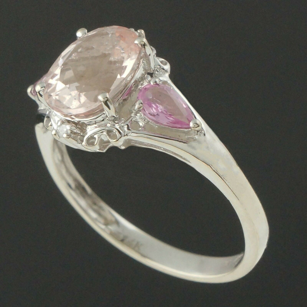 Solid 14K Gold 2.0 Ct Kunzite, Pink Sapphire & Diamond Accent Filigree Ring