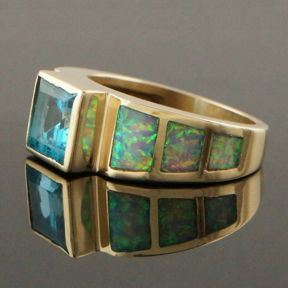 Solid 14K Yellow Gold, 2.27 Ct Blue Topaz & Opal Inlay Cigar Band, Estate Ring