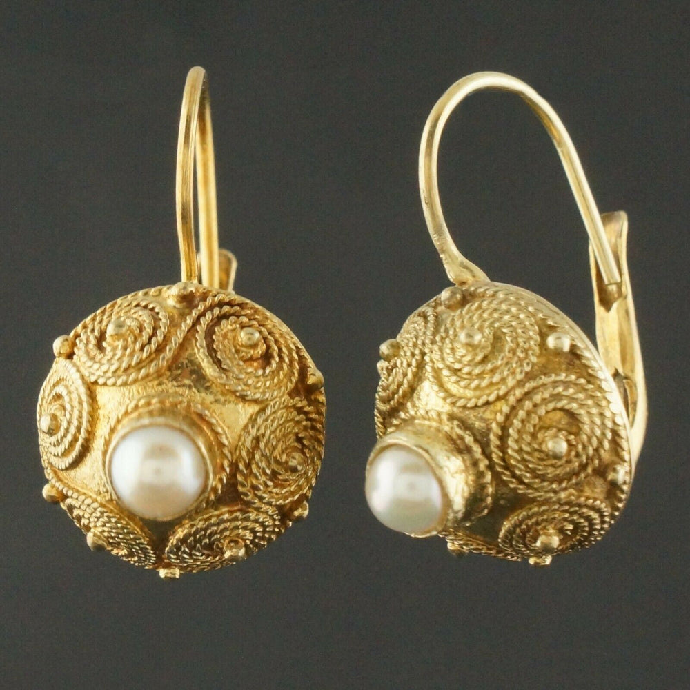 "Etrsucan Solid 14K Yellow Gold & Pearl Estate 7/8"" Leverback Dangle Earrings"