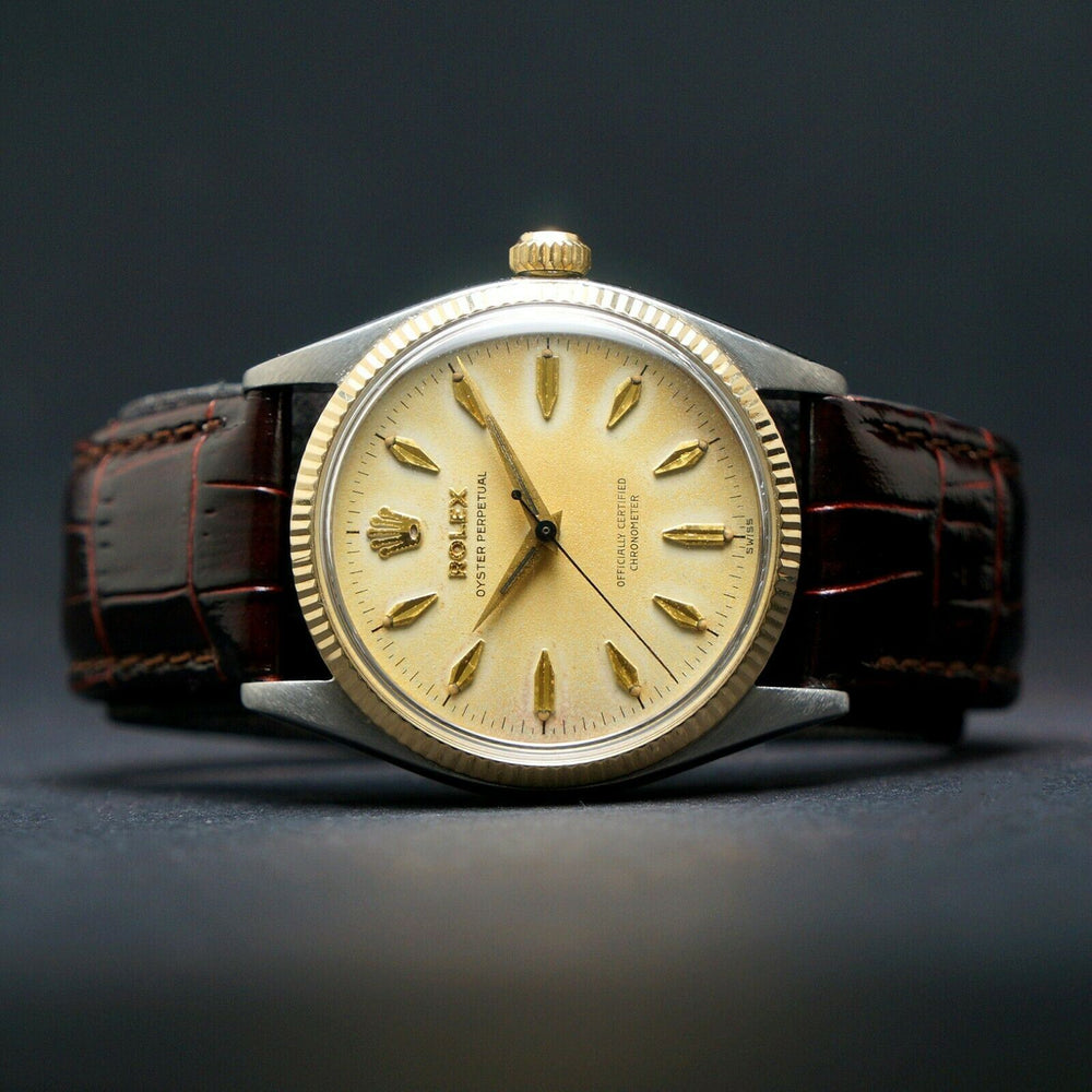 Rare 1957 Rolex 6567 Oyster Perpetual Steel & Gold 34mm Watch Great Patina
