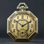 1918 Longines 14K Yellow Gold & Black Enamel Art Deco Octagonal Pocket Watch