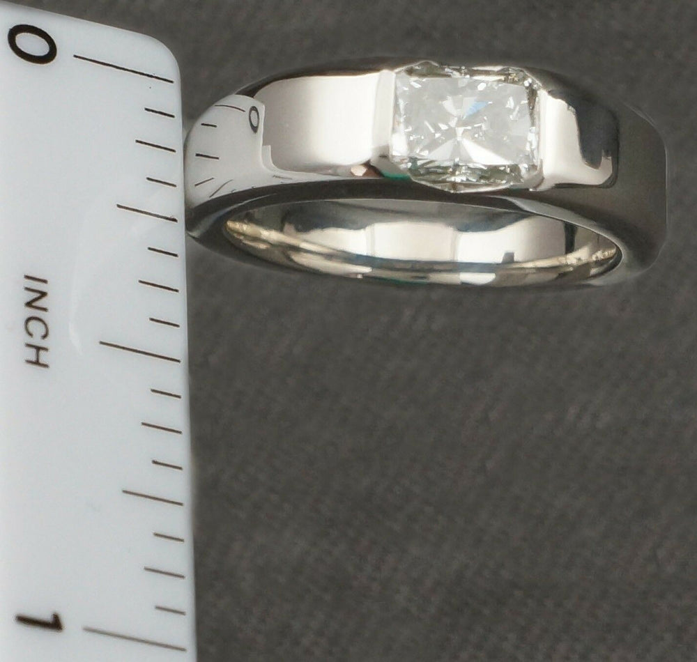 Stephen Einhorn Platinum & 1.10 ct. Radiant F/G Diamond Wedding, Engagement Ring