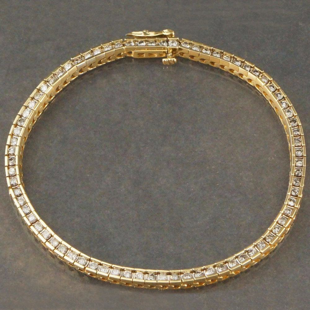 Solid 14K Yellow Gold & 1.50 CTW Diamond, Link, Women's Estate Tennis Bracelet