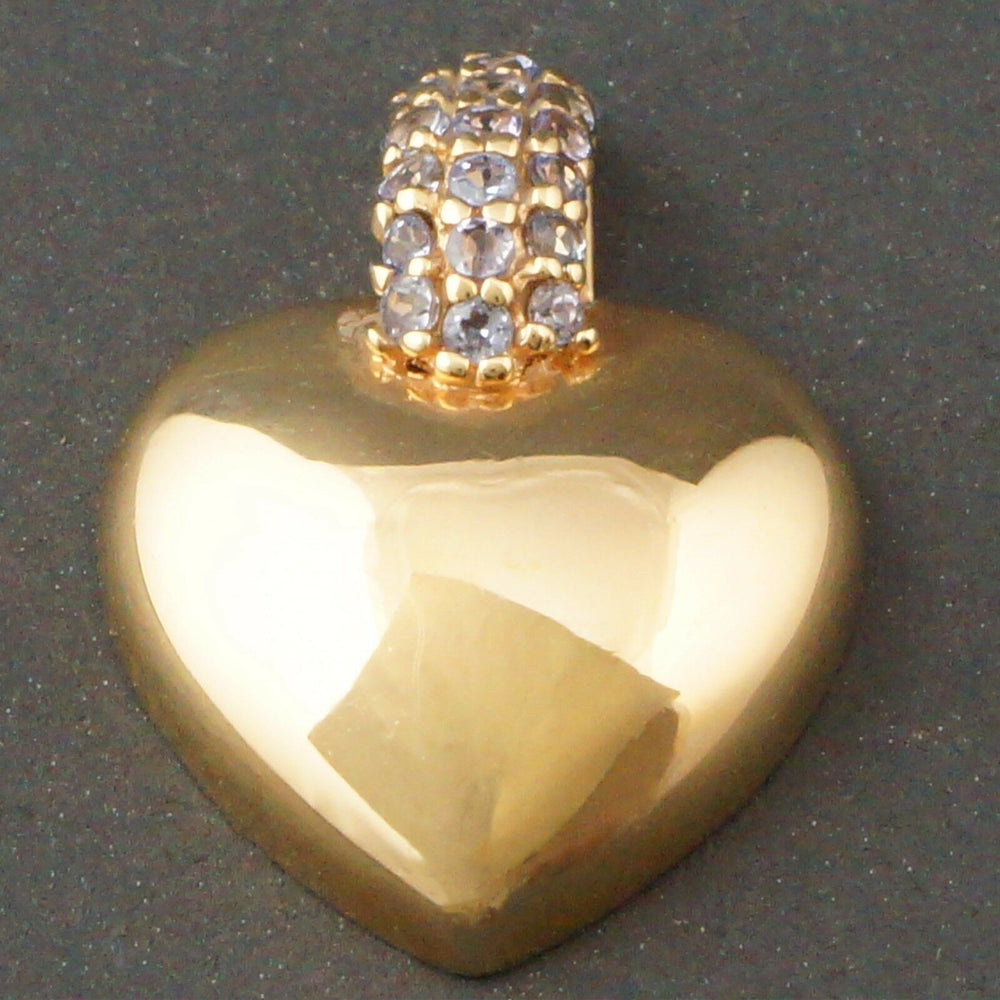 Small High Polished Solid 14K Yellow Gold & Tanzanite Heart Pendant