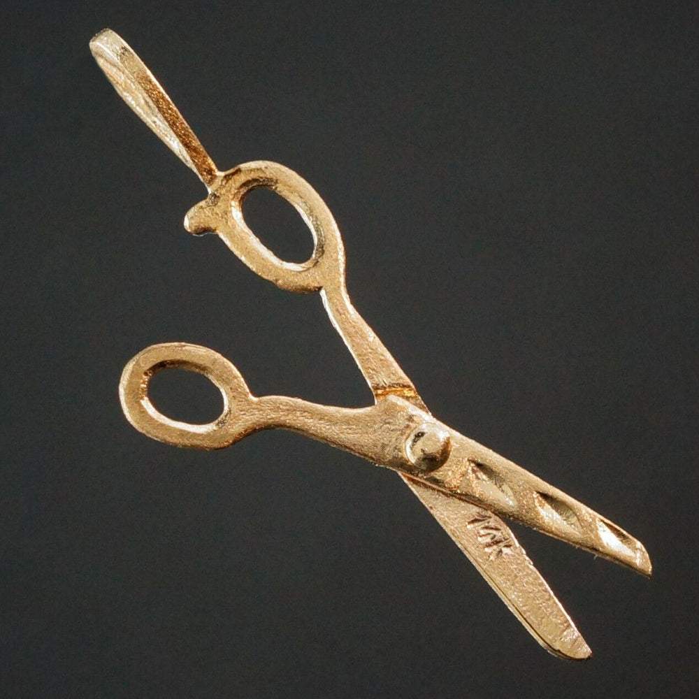 Solid 14K Yellow Gold Articulated Scissors Charm, Pendant, Open & Close