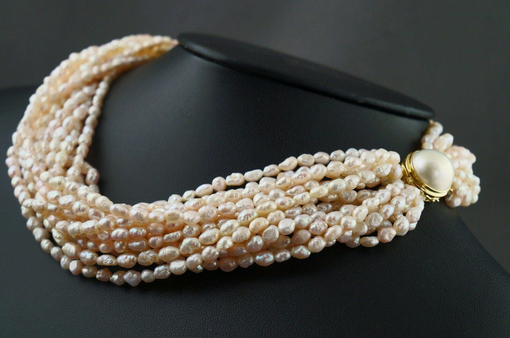 "Retro Solid 14K Gold Mabe Pearl & 15 Strand Freshwater Pearl 16"" Choker Necklace"