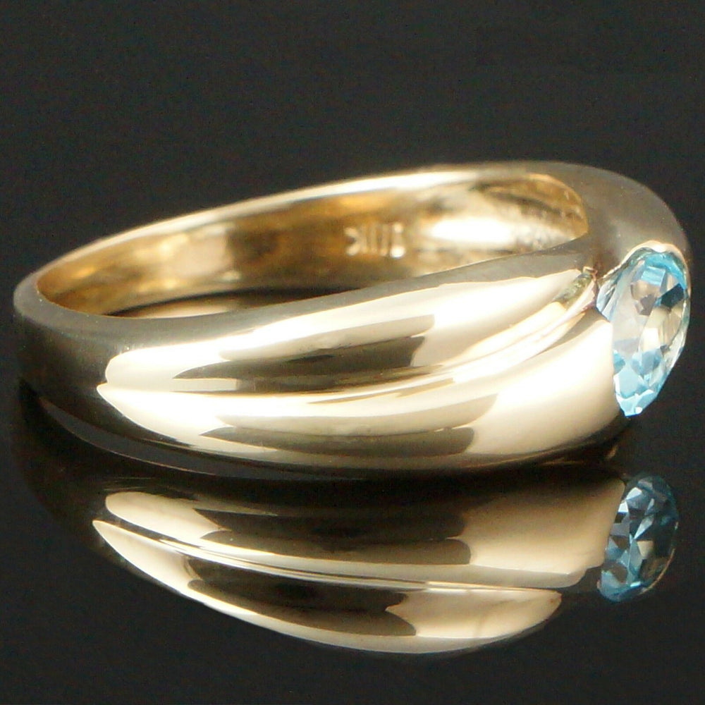 Solid 10K Yellow Gold &  .50 Ct. Bezel Set Blue Topaz Wedding Band, Estate Ring