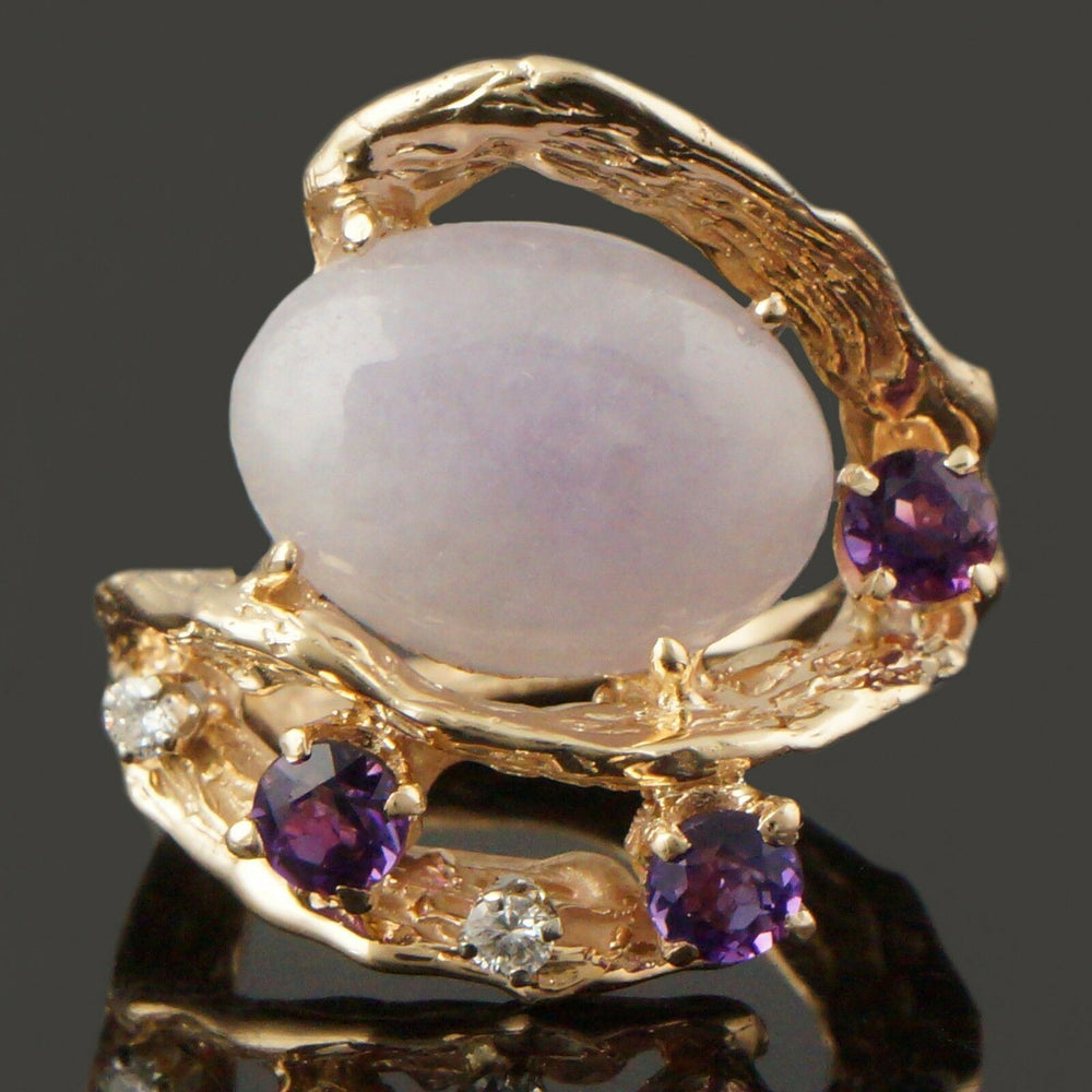 Free Form Solid 14K Gold, Lavender Jade, Diamond & Amethyst Cocktail Estate Ring