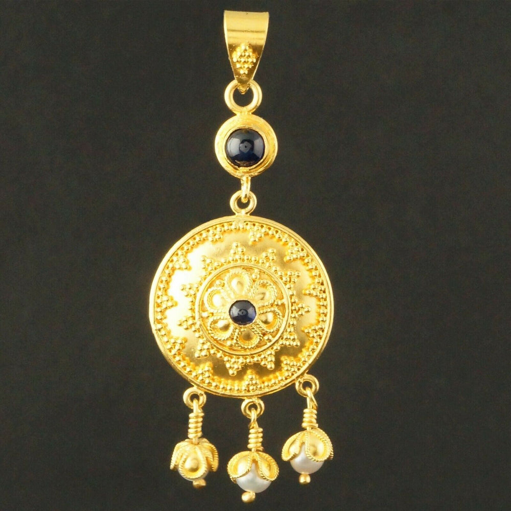 Etruscan Solid 22K Gold Filigree, Freshwater Pearl & Sapphire Cabochon Dangle Pendant