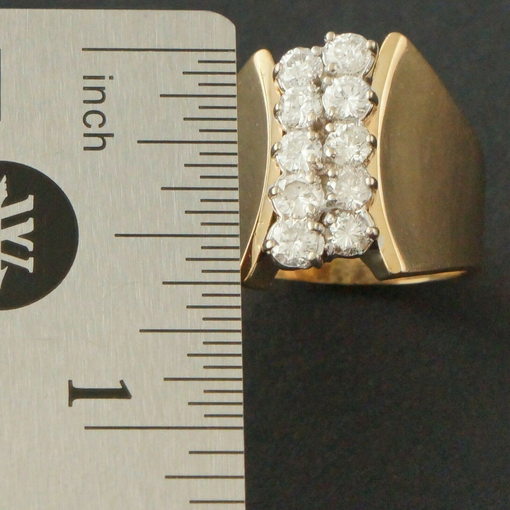 Modernist Solid 14K Yellow Gold & Two Row 1.00 CTW Diamond Estate Ring