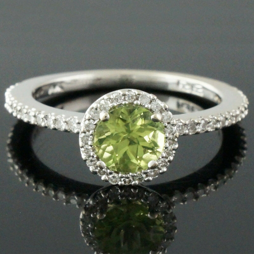 Solid 14K White Gold 1.0 Ct Peridot & .54 CTW Diamond Estate Engagement Ring