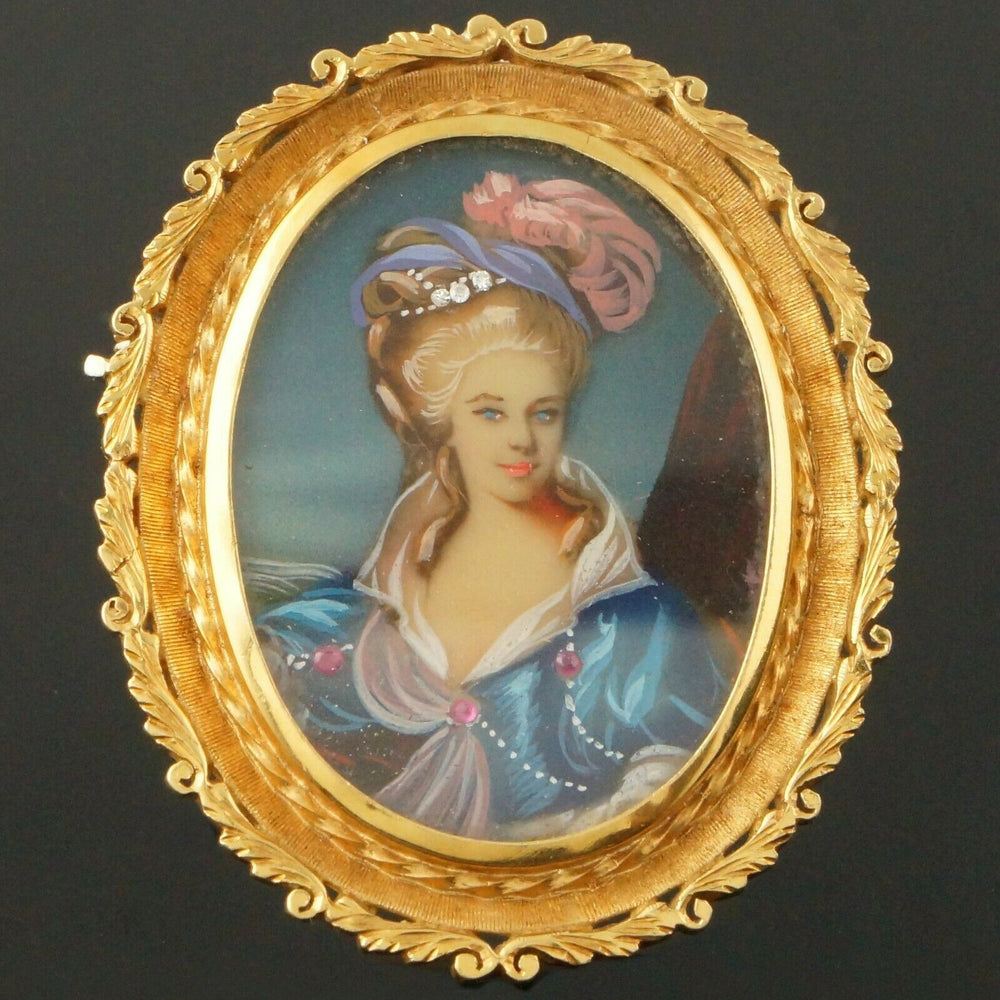 Solid 18K Yellow Gold Scrollwork & Hand Painted Portrait Estate Pin, Brooch