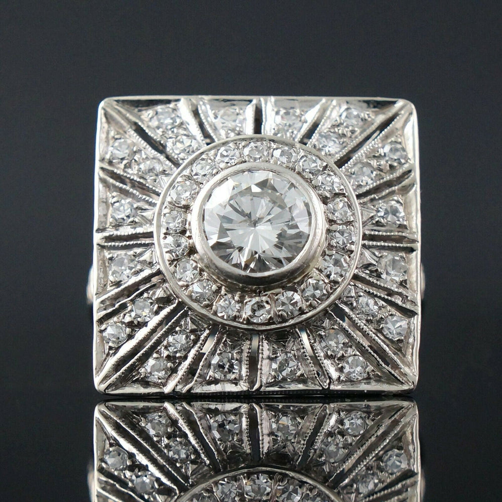 Rare Retro Deco Solid 14K White Gold, .95 Ct Center & 2.05 CTW Diamond Ring