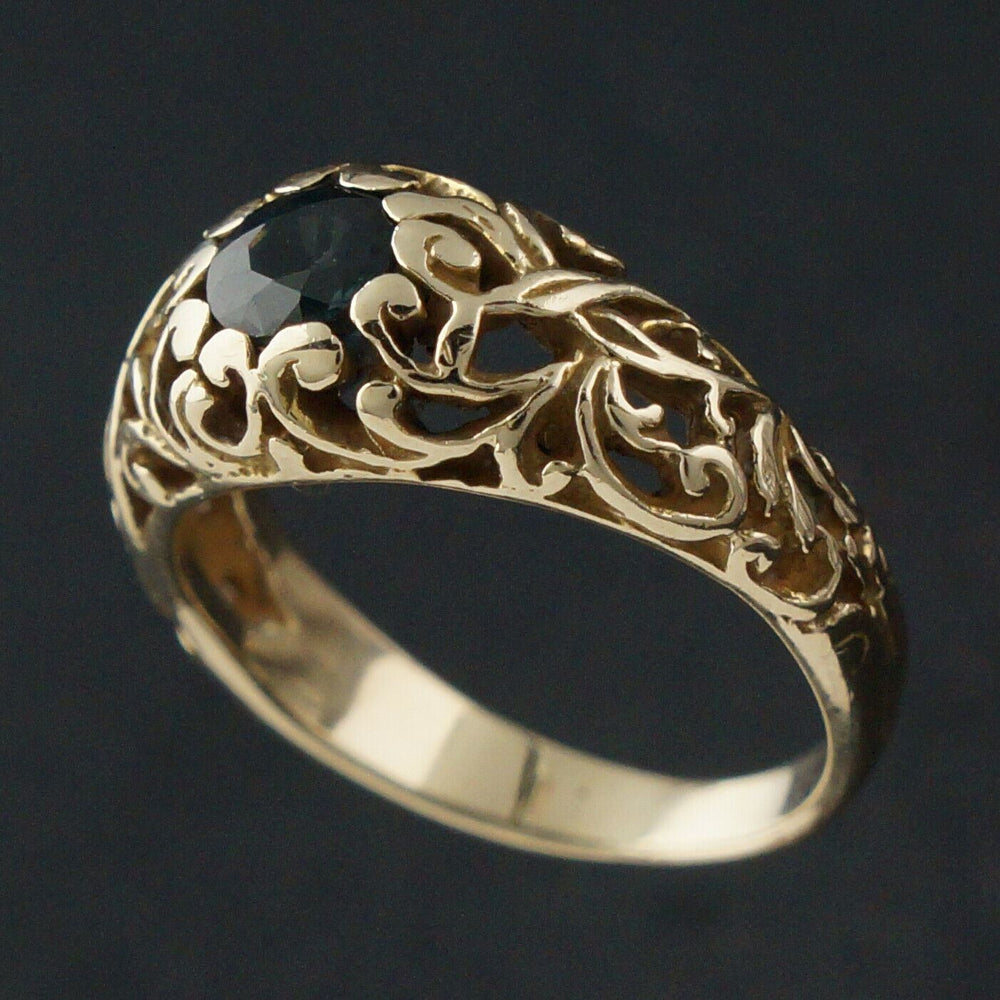 Solid 14K Yellow Gold Filigree & .54 Ct Blue Spinel, Floral Motif Cigar Band Estate Ring