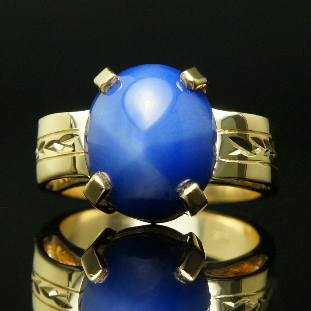 Heavy Solid 14K Yellow Gold, 14.5 Ct Blue Star Sapphire, Estate Engraved Ring