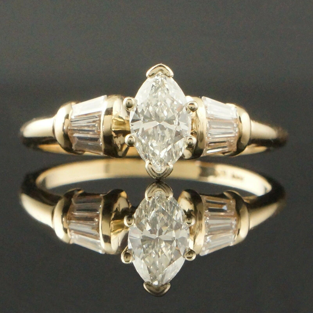 Solid 14K Yellow Gold & 1.18 CTW Diamond, Engagement Ring, Wedding Band