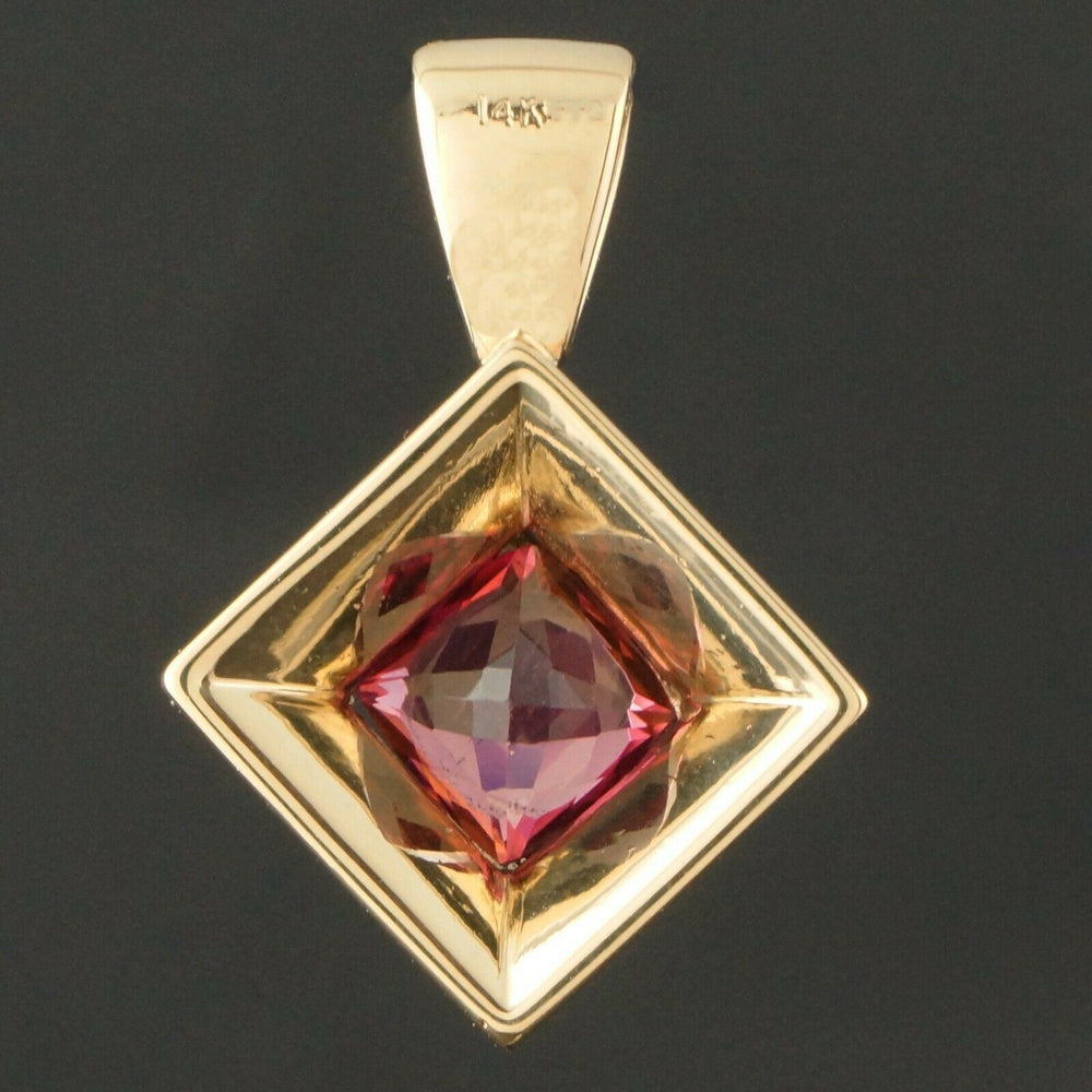 Modern Heavy Solid 14K Yellow Gold & 2.20 Ct Pink Tourmaline Estate Pendant