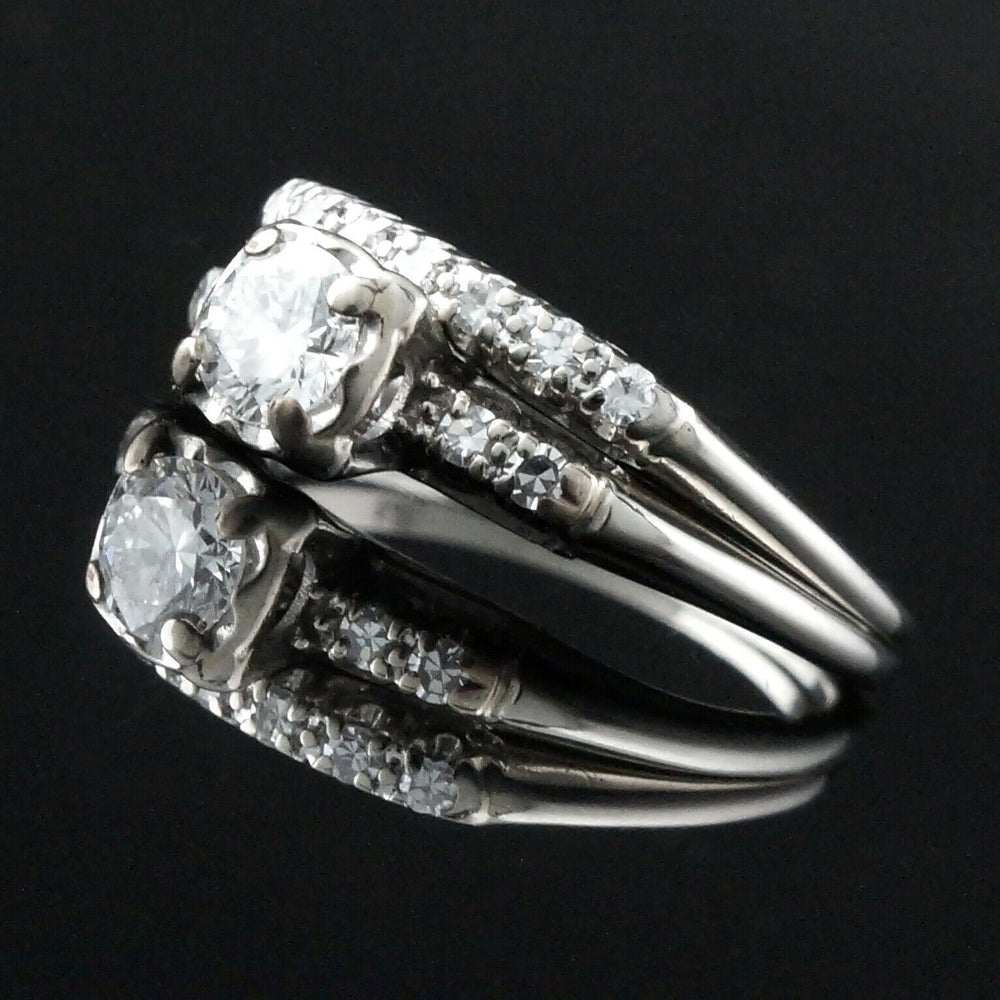 Solid 14K White Gold & .58 Cttw Diamond, Engagement Ring, Wedding Band, Set