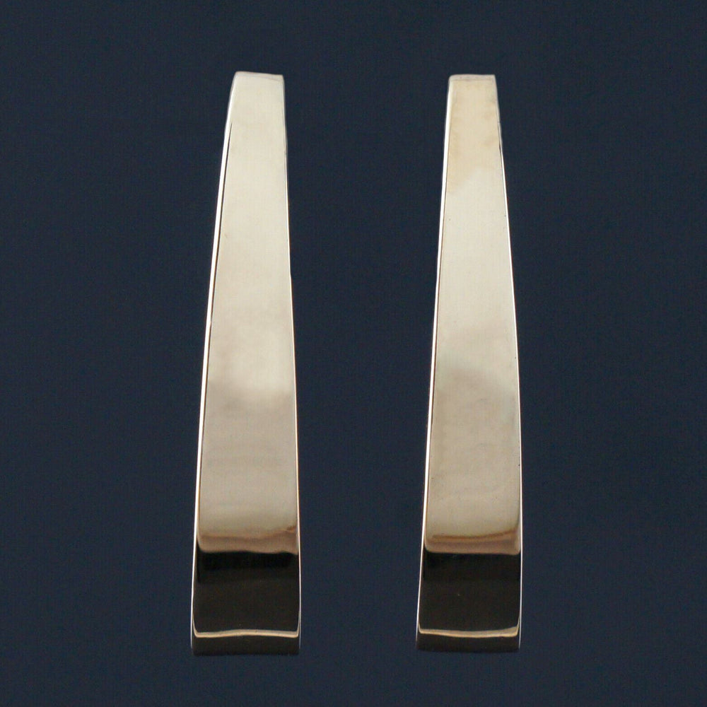 "Modernist Solid 14K Yellow Gold, 1 1/4"" Estate Free-Form Leverback Earrings"