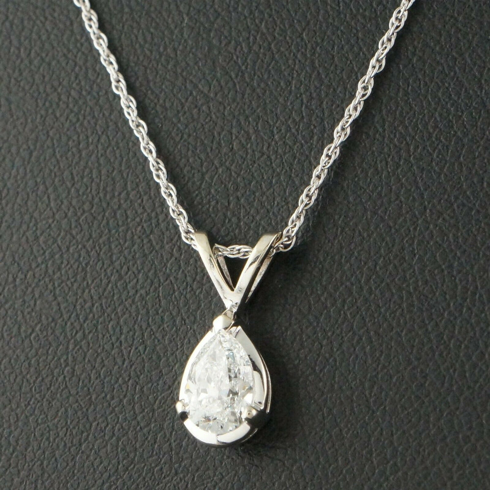 "Solid 14K White Gold & .85 Ct Marquis Diamond Solitaire, SI-2, F/G, 18"" Necklace"