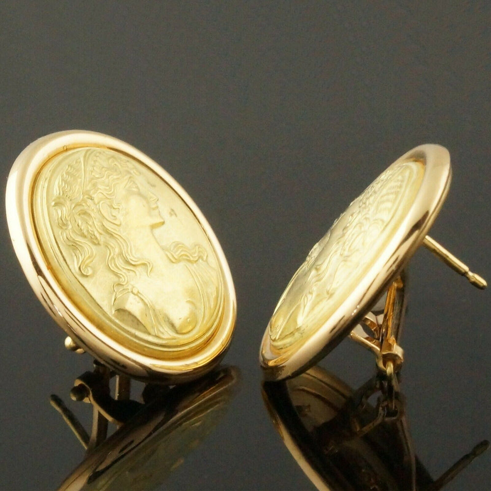 Vintage Anfora Italy Solid 18K Yellow Gold Goddess Profile Omega Earrings