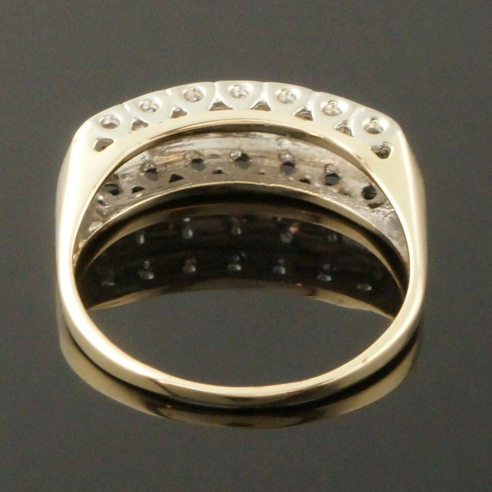 Art Deco 2 Tone Solid 14K Gold Single Cut Diamond 3 Row Wedding Band Estate Ring