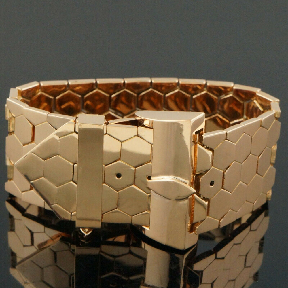 Massive Custom Solid 18K Rose Gold Hinged Hexagon Link Adjustable Belt Bracelet
