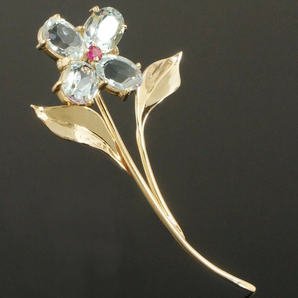 Vintage Tiffany & Co. Solid 14K Yellow Gold Aquamarine & Ruby Flower Pin, Brooch