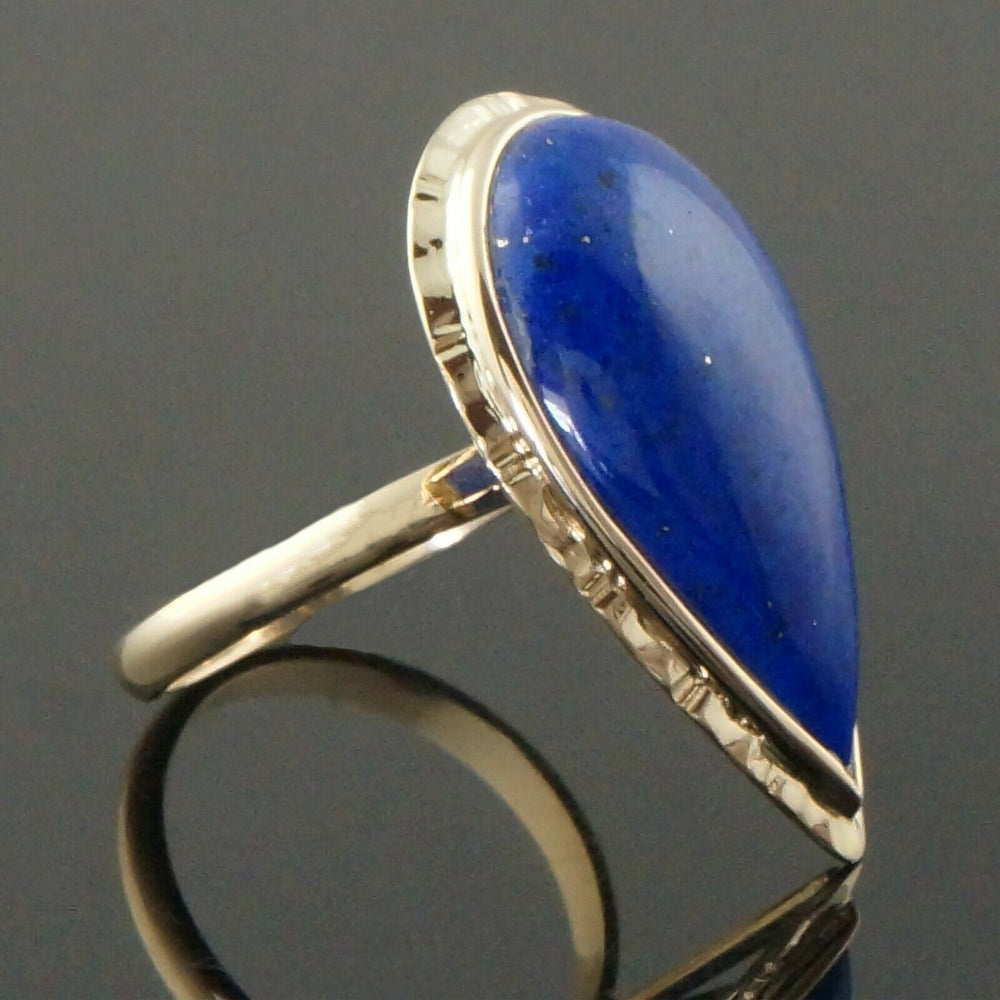 Etruscan Solid 14K Yellow Gold & 25mm Marquis Lapis Lazuli Cabochon Estate Ring