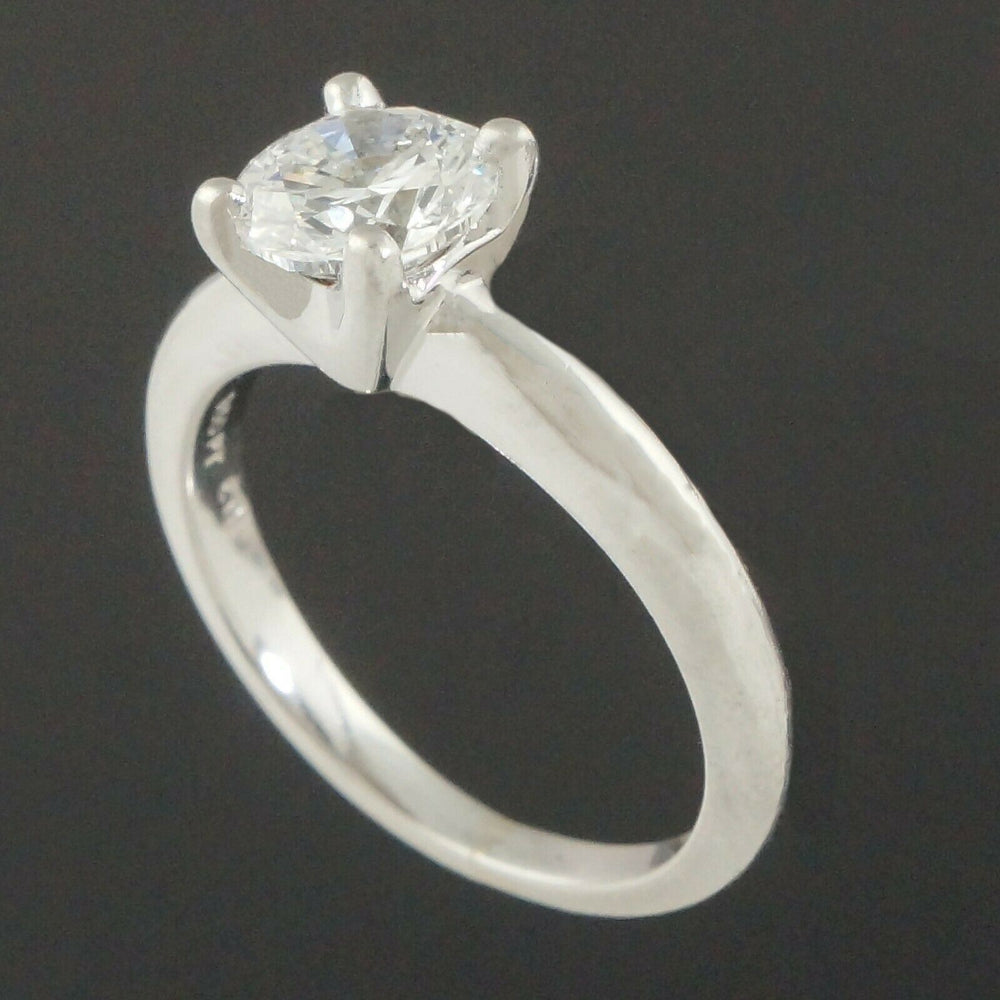 Platinum & 1.00 Ct Diamond Solitaire Estate Engagement Ring, Wedding Band