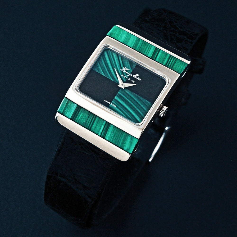 Rare Henry Moser Geneve 18K White Gold & Malachite Man's Watch, Box & Booklets