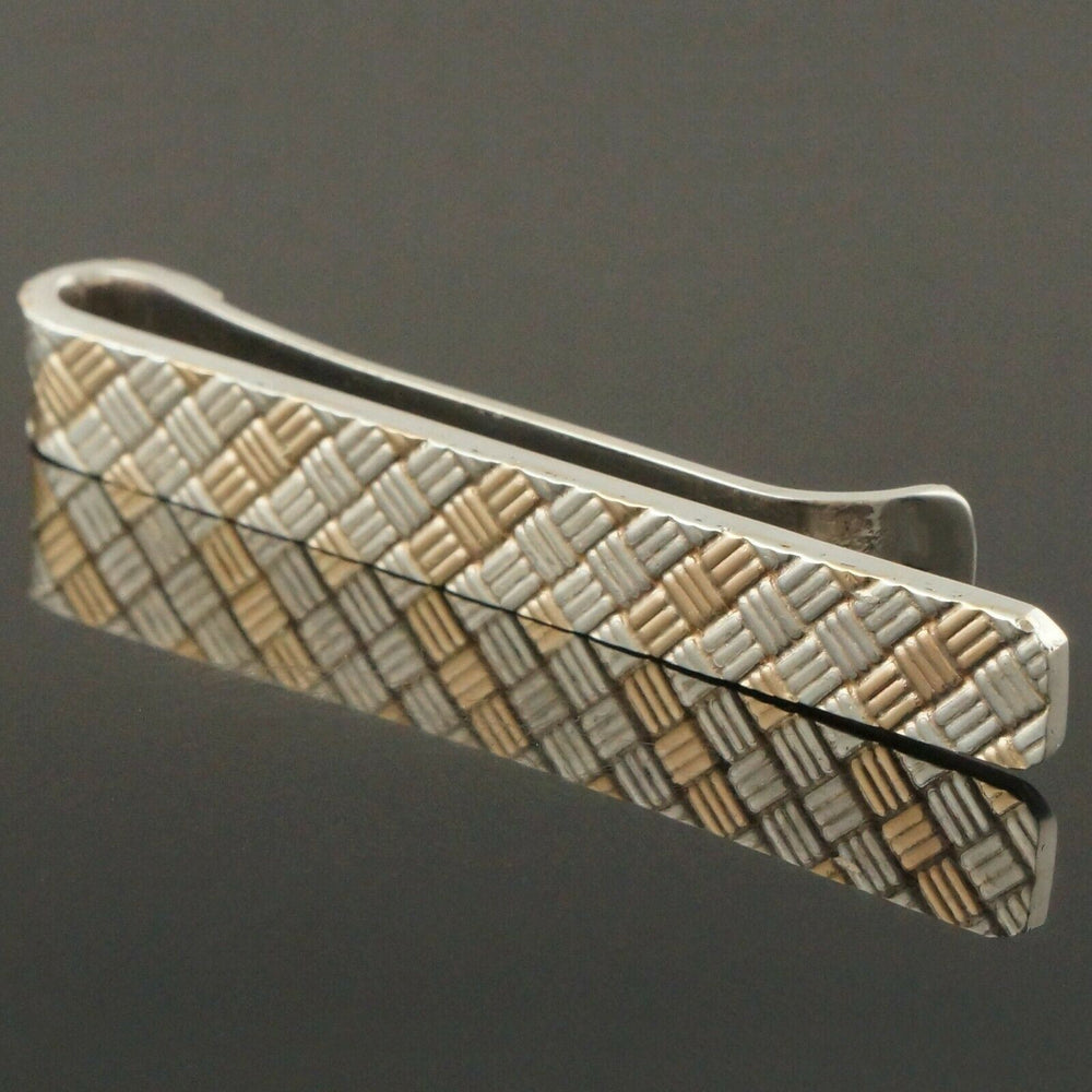 Solid 14K Yellow Gold & Sterling Silver Checkered Cross Weave Tie Clip