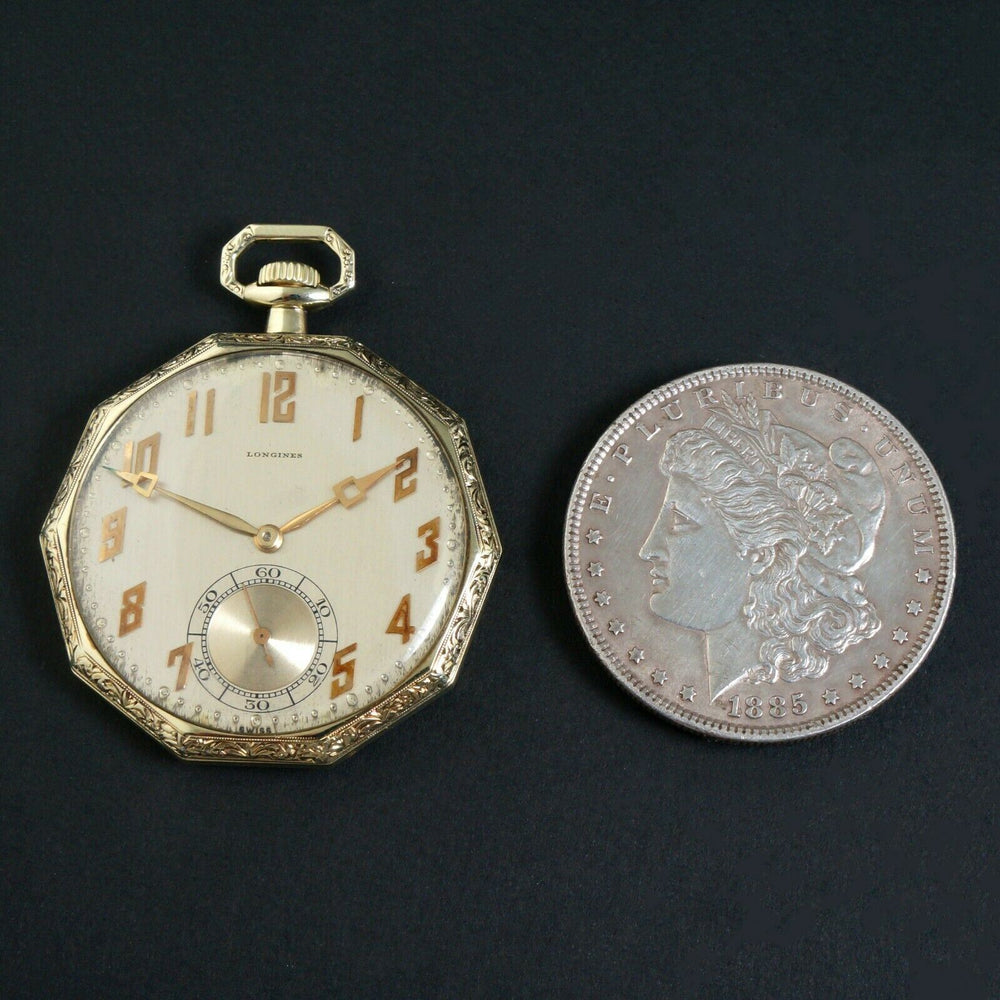 Rare Stunning 1919 Longines Solid 14K Yellow Gold Art Deco 10 Sided Pocket Watch