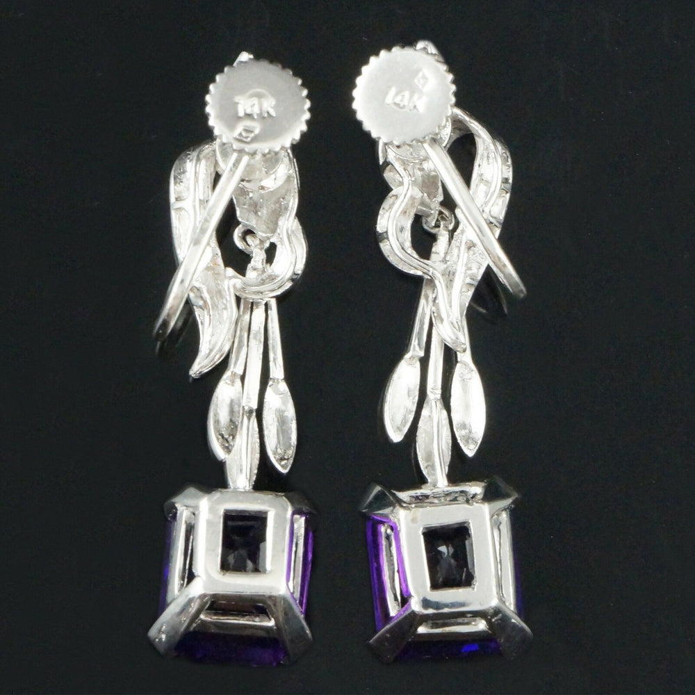 Incredible Retro Solid 14K White Gold & 10.20 cttw Amethyst Drop Dangle Earrings