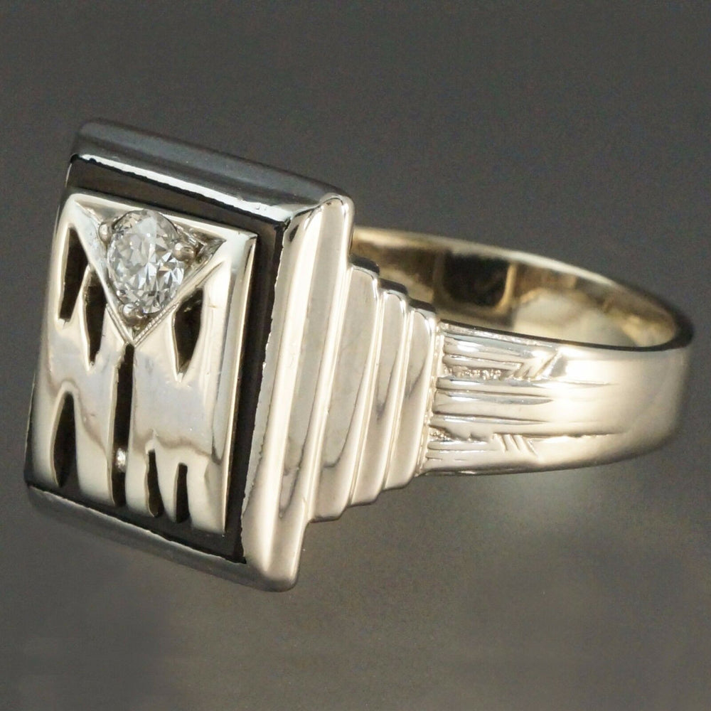 Art Deco Black Onyx Mens Ring - 14K White Gold, .35 ct. Old Euro. Cut Diamond & Black Onyx, Ring