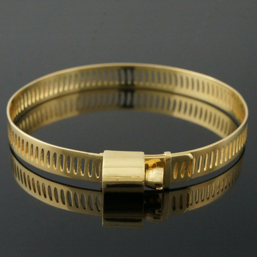 Rare Gucci Solid 18K Yellow Gold, Adjustable Screw Hose Clamp Estate Bracelet