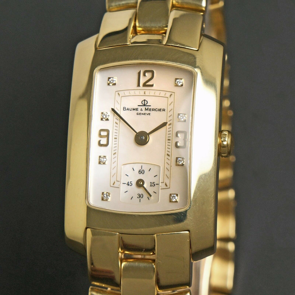 Baume & Mercier Hampton Mid Size 18K Yellow Gold MOP & Diamond Bracelet Watch Heavy, Solid 18K Gold, NEAR MINT CONDITION!