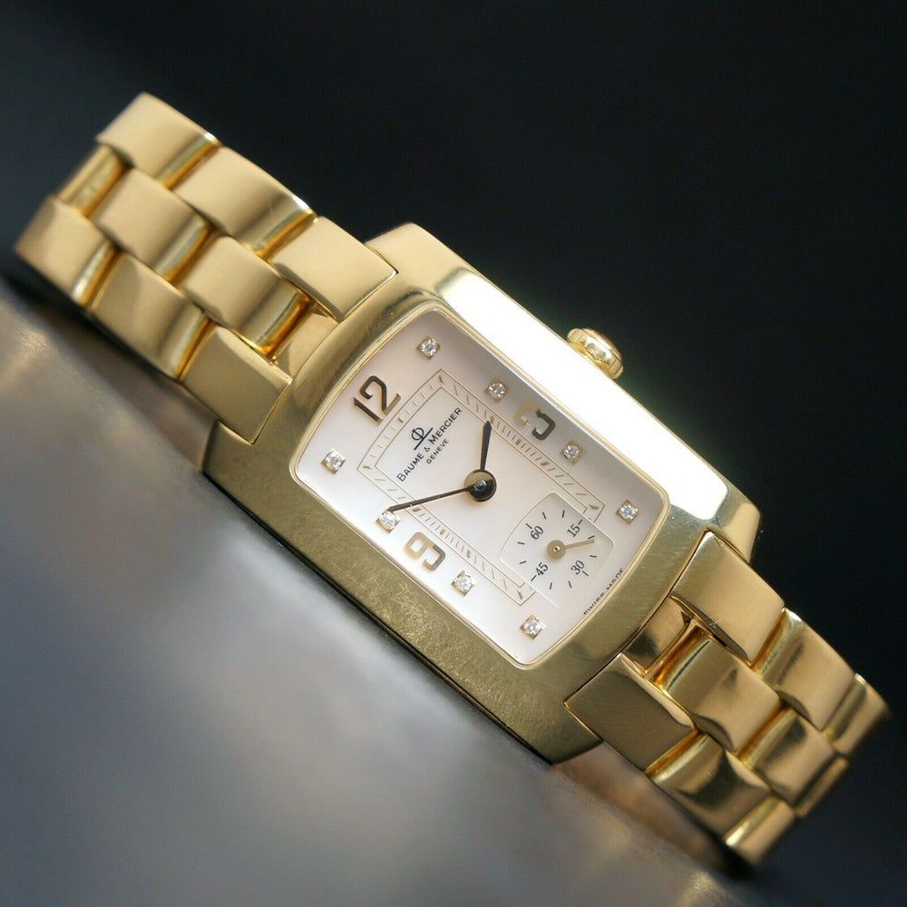 Baume & Mercier Hampton Mid Size 18K Yellow Gold MOP & Diamond Bracelet Watch, Near Mint!
