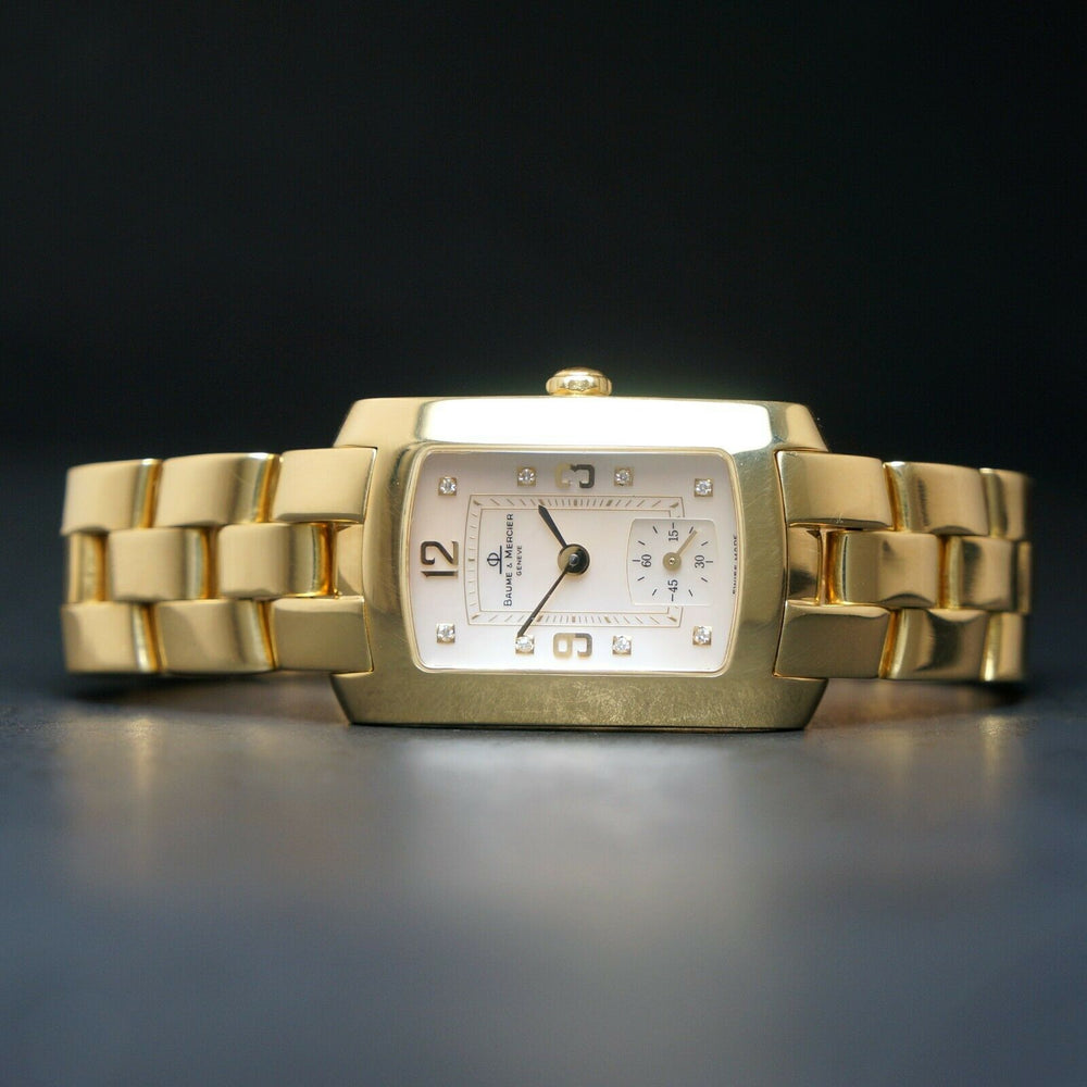 Baume & Mercier Hampton Mid 18K Yellow Gold MOP & Diamond Bracelet Watch Heavy, Solid 18K Gold, NEAR MINT CONDITION!